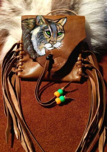 Lynx Hand Paint Lambskin Medicine bag, Spiritual Bag with fringe and Pony beads.