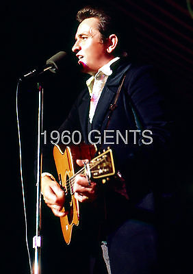 1969 8X10 PHOTO OF JOHNNY CASH IN CONCERT FROM ORIGINAL NEGATIVE RARE!!!!!!