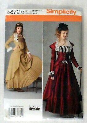 Simplicity 0872 Pattern Victorian Steampunk Costume Dress Jacket Sz 14-22 Uncut