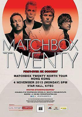 """MATCHBOX TWENTY """"NORTH TOUR FIRST EVER HK CONCERT"""" 2013 HONG KONG POSTER"""