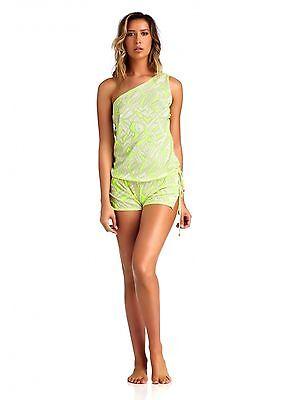 Nwt Vitamin A Swimwear Limelight Crochet Lola One Shoulder Romper  Size  S 6