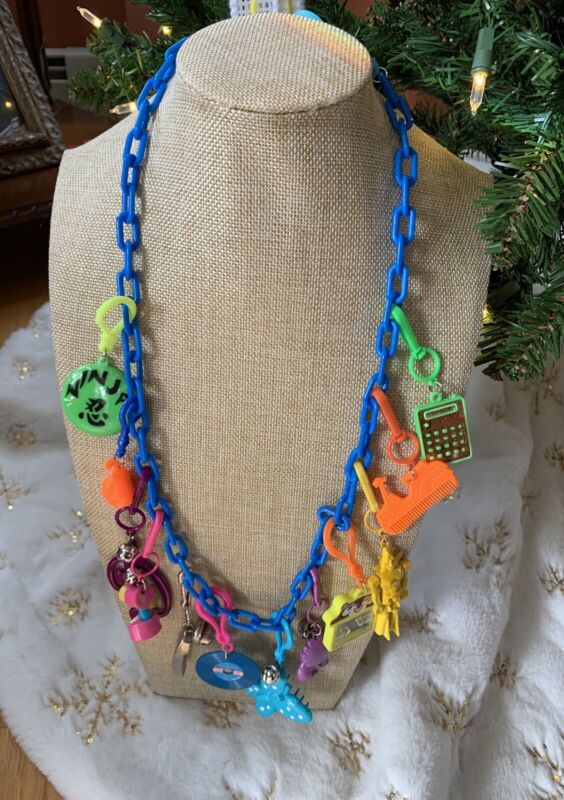 Vintage New 80's Plastic Bell Charm Necklace Retro Robot Butterfly D Party 1980