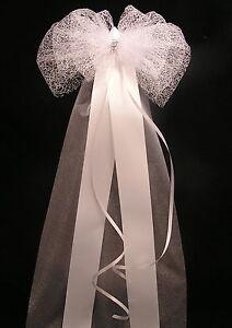 Church pew bows ebay pew end bows elegant lace sparkle church wedding venue decor top table chair junglespirit Gallery