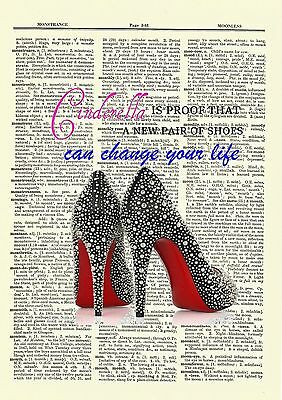 Cinderella New Shoes Dictionary Art Print Book Page movie Inspirational quote