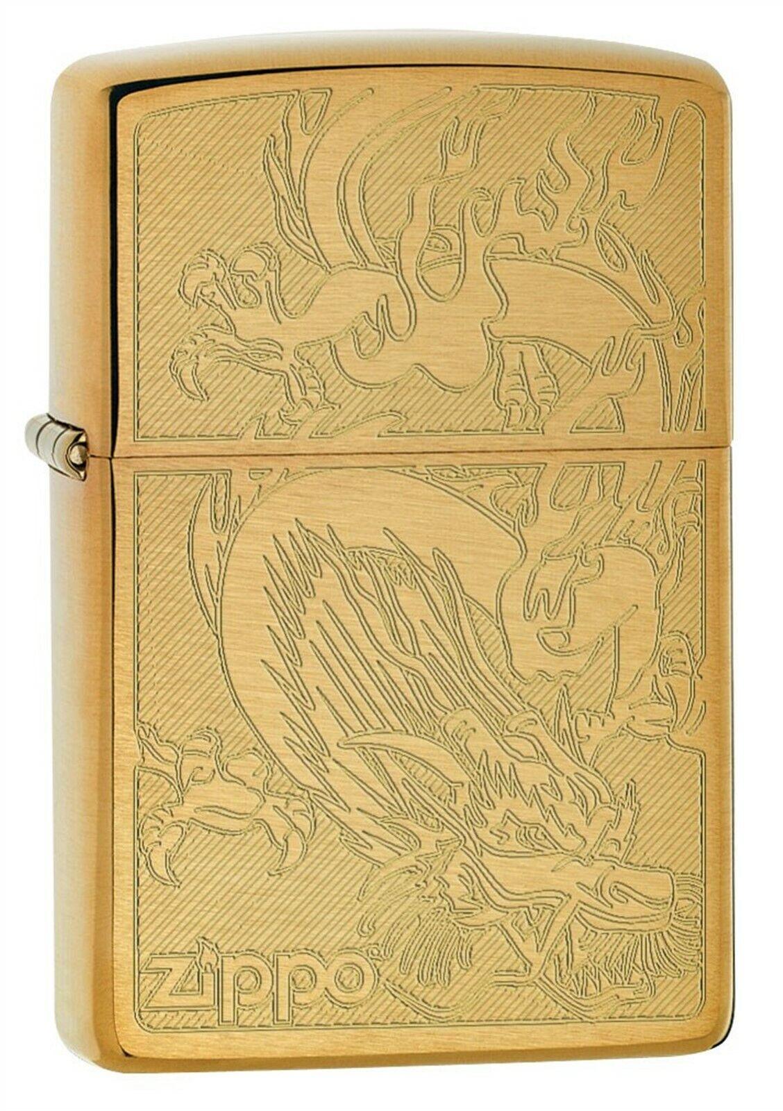 Zippo Lighter: Dragon, Engraved - Brushed Brass 79464