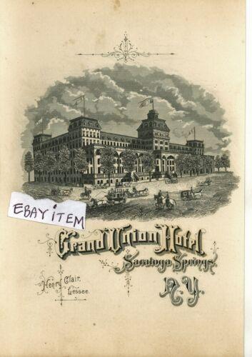 1883 advertising card GRAND UNION HOTEL Saratoga Springs NEW YORK Henry Clair