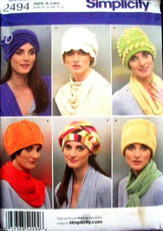 Miss Simplicity 2494 Pattern Fleece Winter Hats 3 Sizes UNCUT Small-Medium-Large
