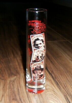 Halloween Horror Nights 2007 Freddy Jason Leatherface Tall Shot Glass  - Halloween Horror Nights Freddy Jason Leatherface