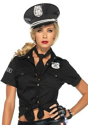 Women's Sexy Bad Police Cop Officer Security Shirt Tie Costume Halloween Kit - Womens Police Shirt Kostüm