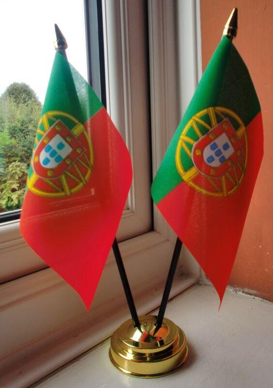 PORTUGAL X2 TABLE FLAG SET 2 flags plus GOLDEN BASE PORTUGUESE
