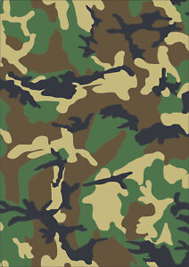 A5 sheet laminated camouflage Stickers self adhesive vinyl Green Camo cam decal
