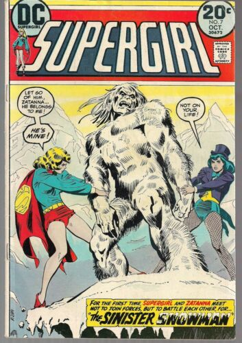 "SUPERGIRL #7 DC 1973 ZATANNA  & TONY MARTIN APPEAR ""THE SINISTER SNOWMAN!"" VG/FN"