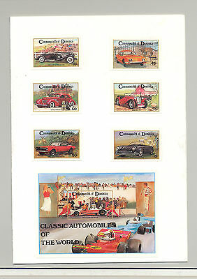 Dominica #810-816 Automobiles 6v & 1v S/S Imperf Proofs Mounted in Folder