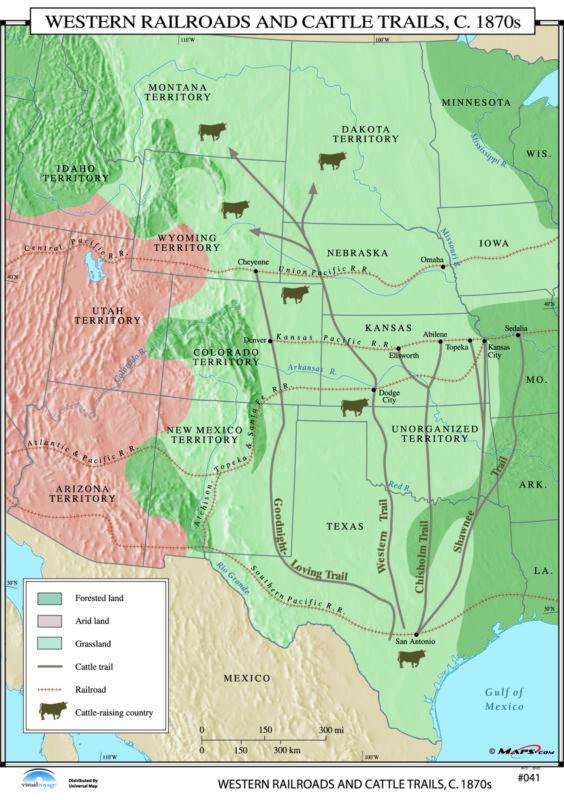 041 Western Railroads & Cattle Trails, 1870s