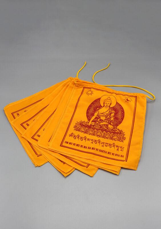 Orange Shakyamuni Buddha Prayer Flags-Buddhist Flags, Buddha Prayer Flags