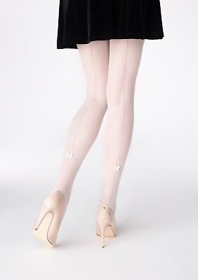 582493dff35 Patrizia Gucci for Marilyn Grey Backseam Bow Pantyhose White Designer Hosiery  SM