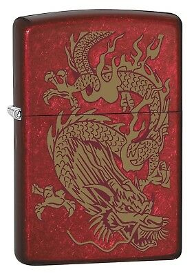 Zippo Lighter: Golden Dragon - Candy Apple Red - Gold Candy Apples