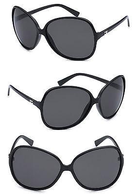 Retro CG Damen Übergröße Runde Sonnenbrille UV Schutz - Schwarz Rahmen CG104