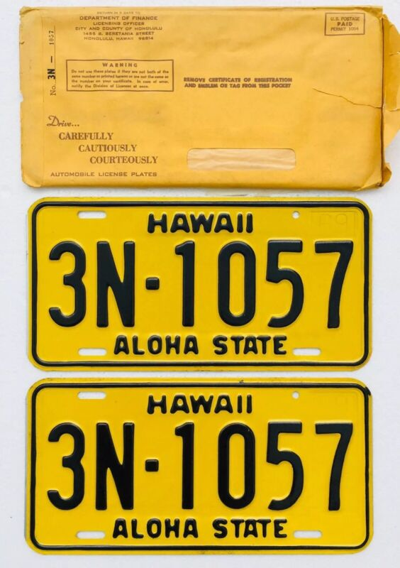 1969 Hawaii License Plates Pair N.O.S. W/Envelope, Mint Cond.