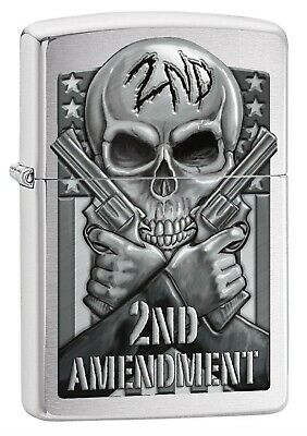 Zippo Lighter: Second Amendment, Skull and Guns - Brushed Chrome 78702