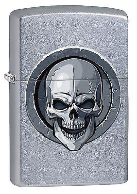 """Zippo """"Stone Skull"""" Street Chrome Finish Lighter, Full Size, 3591"""
