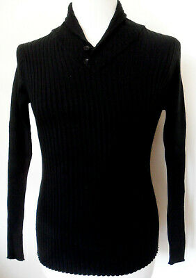 Men's Ribbed Slim Fit Long Sleeve Shawl Neck Jumper Sweater Top Black Medium