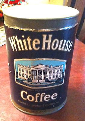 Vintage  1920's White House Coffee Tin Can Boston Chicago Portsmouth Kitchen Adv