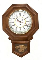 Wall Clock w/ brass pendulum Colonial Mfg. Co. Roman & Western/Arabic Numerals