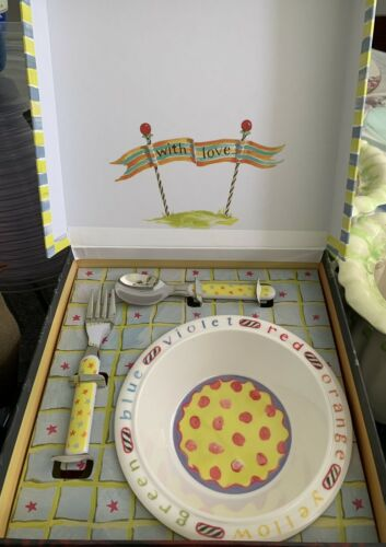 McKenzie Childs, Rare 4-pc Cup And Plate, Spoon Fork Set NEW Original Box - $59.00