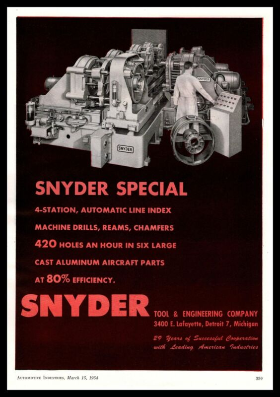 1954 Snyder Tool & Engineering Detroit 4-Station Automatic Line Index Print Ad