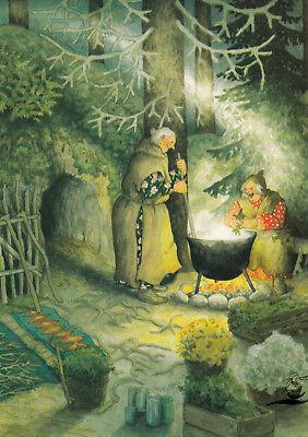 Kunstkarte: Inge Löök - Frauen kochen über dem offenen Feuer / Nr. 57