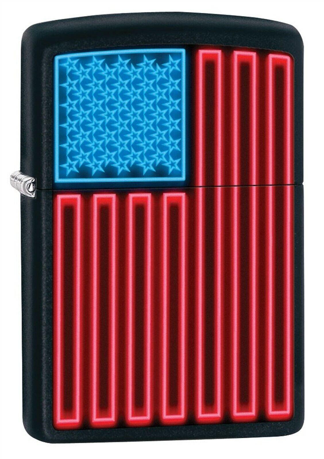 Zippo Lighter: Neon American Flag - Black Matte 79566