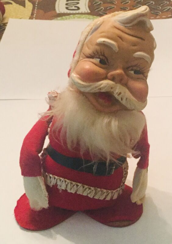Vintage made in Japan SANTA CLAUS DOLL Christmas figure Soft Plastic Head