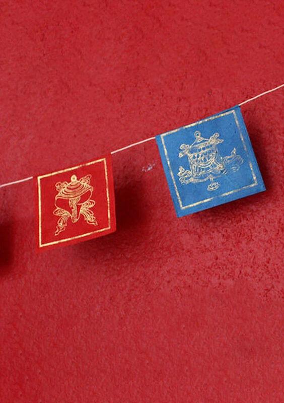 Tibetan Auspicious Prayer Flag, Paper Tibet Flags, Mini Indoor Prayer Flag PF091
