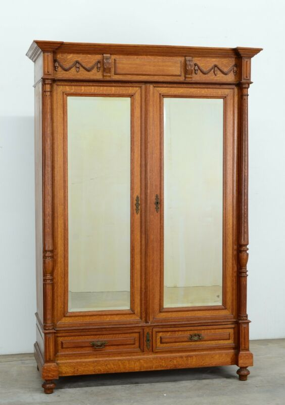 Antique French Oak Renaissance Style 2 Door Armoire Wardrobe