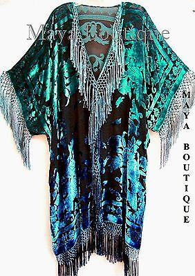 Hand Dyed Blue Turquoise Silk Velvet Jacket Kimono Duster Caftan Maya Matazaro