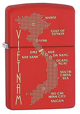 Zippo Lighter: Vietnam War Map - Red Matte 77370