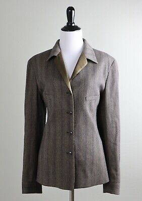 GIORGIO ARMANI Le Collezioni Satin Trim Wool Herringbone Jacket Top Size IT 40 (Giorgio Armani Height)