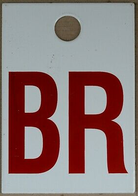Old red electricity pylon marker plate plaque enamel steel sign initials BR B R