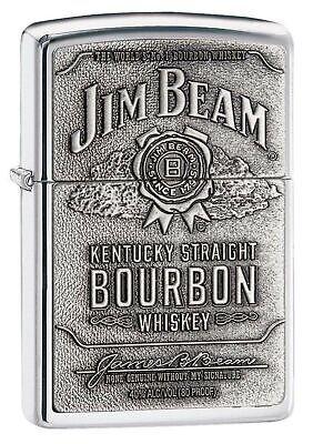 Zippo Jim Beam Bourbon Label High Polish Chrome Emblem Pocket Lighter