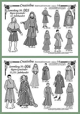 Nr. 5 + 6 Schnittmuster MITTELALTER Kostüme - M.1:6 Vergrößern oder Modepuppen