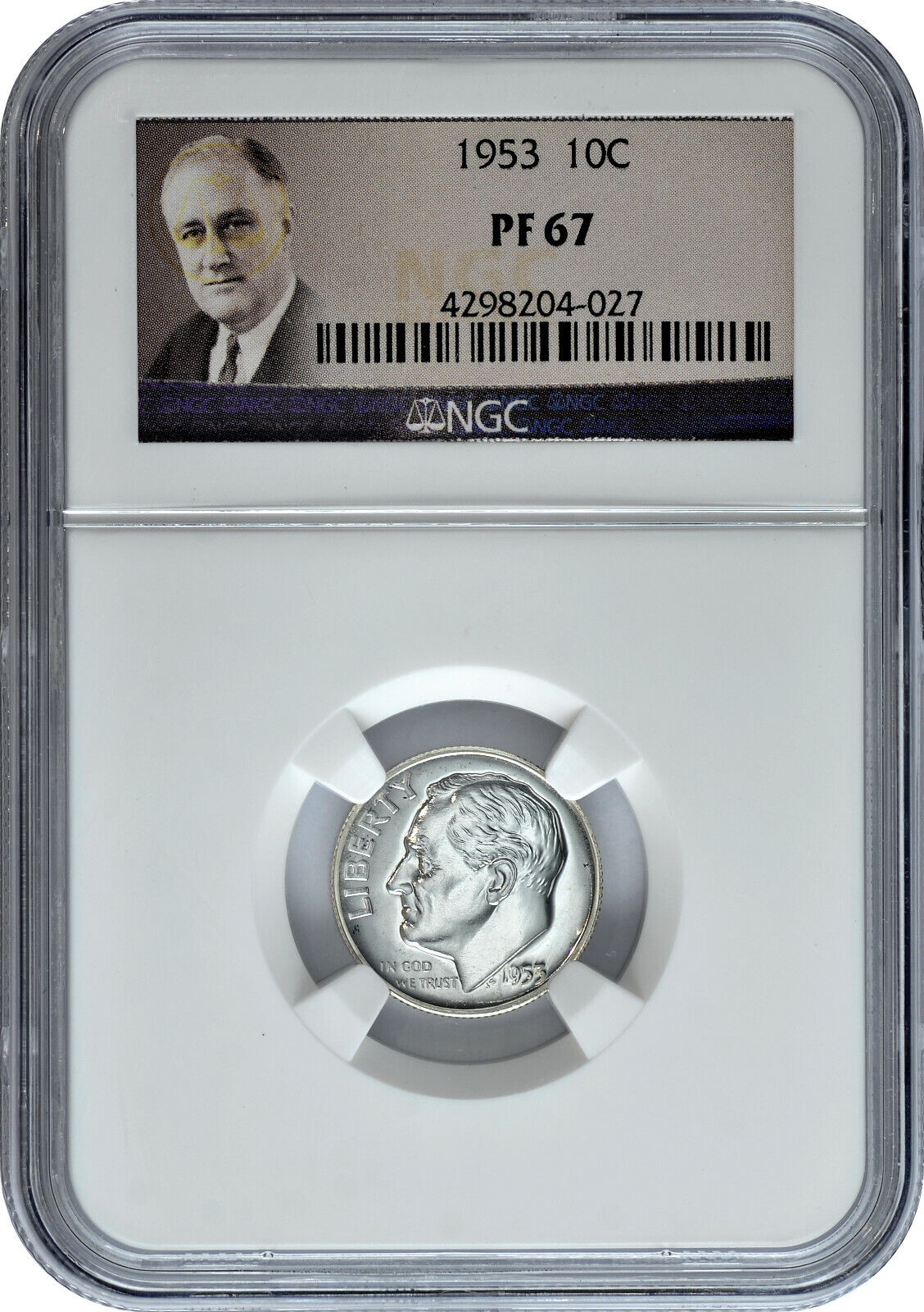 1953 10C Proof Silver Roosevelt Dime NGC PF 67