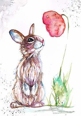 Original Watercolour Painting by Be Coventry, Rabbit and Poppy