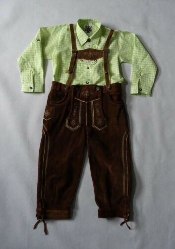 German Bavarian  Boys Brown. Lederhosen 8-9 years