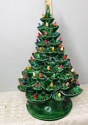 """Vintage 19"""" Large Ceramic Christmas Tree Light Bulbs Wind Up Music Box READ"""