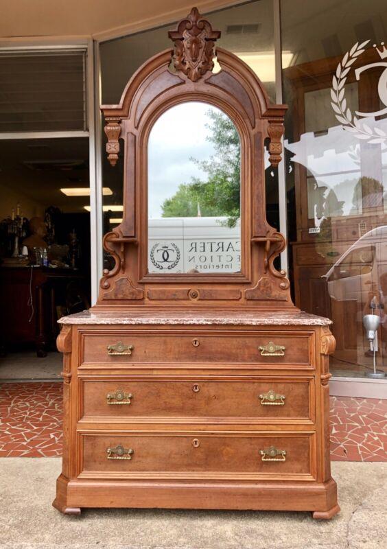 American Victorian Renaissance Revival Dresser & Mirror