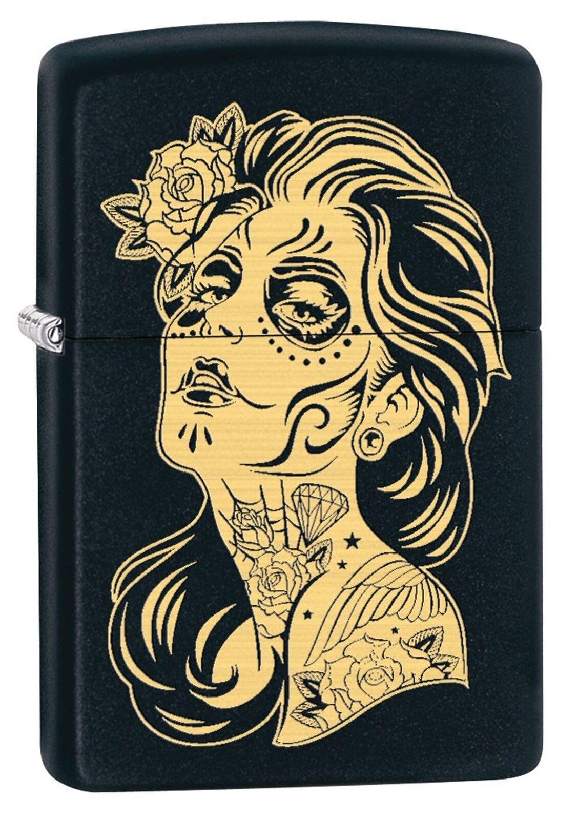 Zippo Lighter Day Of The Dead Girl Engraved Black Matte 79494