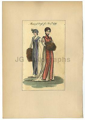 "18th Century Fashion - ""Morning Dress for Jan. 1799"" - Period Engraving"