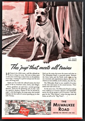 1944 AMERICAN STAFFORDSHIRE TERRIER Milwaukee Road Railroad AD