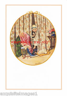 Pauli Ebner~Girl Peeks From Bed~Kittens~NEW Note Cards